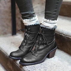 Women's PU Chunky Heel Martin Boots Round Toe With Zipper Lace-up shoes