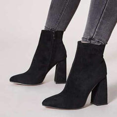Women's PU Chunky Heel Martin Boots Pointed Toe With Zipper Solid Color shoes