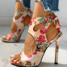 Women's PU Stiletto Heel Sandals Pumps Peep Toe Pointed Toe With Hollow-out Flower Splice Color shoes