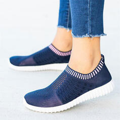 Women's Flying Weave Flat Heel Flats Low Top Round Toe Sneakers Slip On With Splice Color Stripe shoes