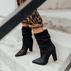 Women's PU Chunky Heel Ankle Boots Martin Boots Pointed Toe With Ruched shoes