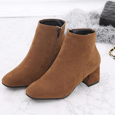 Women's Suede Chunky Heel Ankle Boots Square Toe With Zipper Solid Color shoes