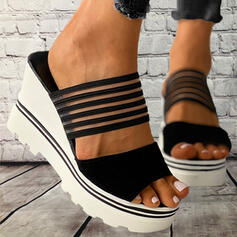 Women's PVC Wedge Heel Sandals Platform Wedges Peep Toe Slippers With Hollow-out Bandage shoes
