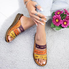 PU Wedge Heel Sandals Wedges Peep Toe Slippers Heels With Hollow-out shoes
