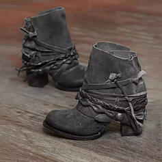 PU Chunky Heel Ankle Boots Round Toe With Zipper Braided Strap Solid Color shoes