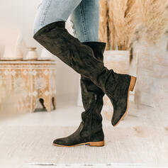 Women's Suede Low Heel Knee High Boots Riding Boots Round Toe With Ruched Solid Color shoes