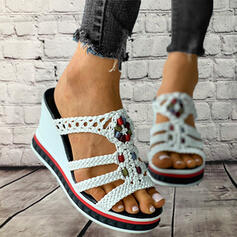 Women's PU Wedge Heel Sandals Platform Wedges Peep Toe Slippers Heels With Hollow-out Braided Strap shoes