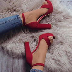 Women's Suede Chunky Heel Sandals Pumps With Hollow-out Solid Color shoes