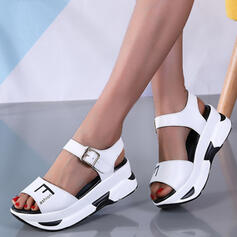 Women's Leatherette Flat Heel Sandals Platform Wedges Peep Toe Heels With Buckle Hollow-out shoes