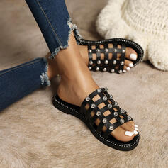 Women's PU Flat Heel Sandals Flats Peep Toe Slippers With Hollow-out Splice Color shoes