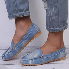 Women's PU Flat Heel Flats Round Toe Loafers Slip On With Velcro Solid Color shoes