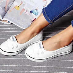 Women's Canvas Flat Heel Flats Round Toe Slip On With Lace-up shoes