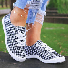 Women's Cloth Flat Heel Round Toe Espadrille Slip On With Lace-up shoes