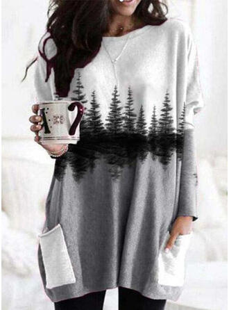 Print Forest Pockets Round Neck Long Sleeves Sweatshirt
