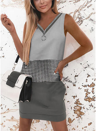 Color Block/Plaid Sleeveless Shift Above Knee Casual Dresses
