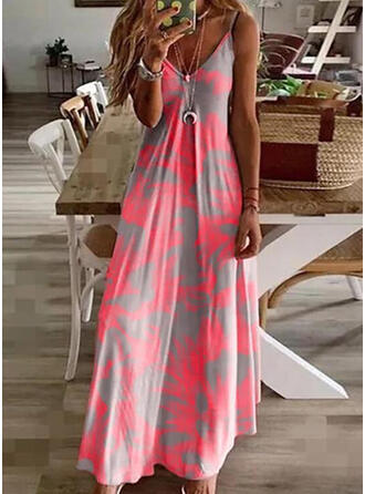 Tie Dye/Backless Sleeveless A-line Slip/Skater Casual/Vacation Maxi Dresses