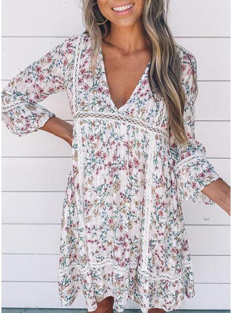 Lace/Print/Floral 3/4 Sleeves Shift Knee Length Casual/Boho/Vacation Tunic Dresses