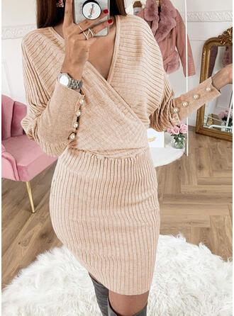 Solid Beaded V-Neck Casual Long Tight Sweater Dress