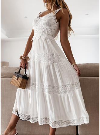 Lace/Solid/Backless Sleeveless A-line Skater Casual/Vacation Midi Dresses