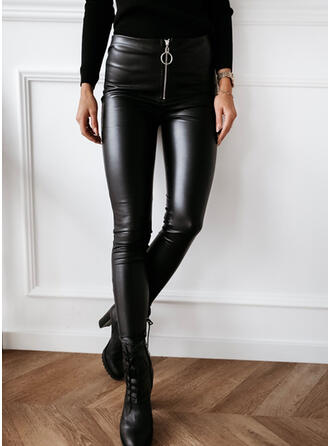 Solid Shirred Sexy Leather Leggings