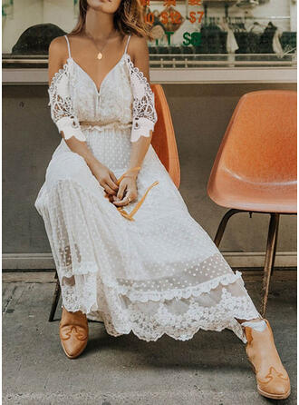 Lace/Solid 3/4 Sleeves A-line Skater Casual/Vacation Maxi Dresses