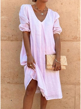 Solid 3/4 Sleeves/Puff Sleeves Shift Tunic Casual Midi Dresses