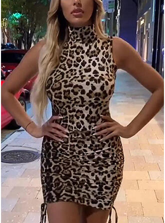 Leopard Sleeveless Bodycon Above Knee Sexy/Casual Dresses