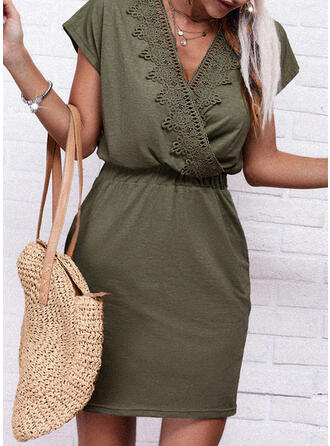 Lace/Solid Short Sleeves Sheath Above Knee Casual Wrap Dresses