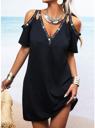 Solid/Beaded Short Sleeves Sheath Above Knee Little Black/Casual Dresses