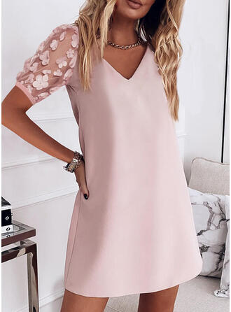 Floral/Solid Short Sleeves Shift Above Knee Casual Tunic Dresses