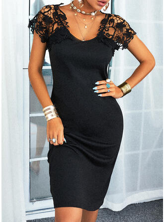 Lace/Solid/Backless/Hollow-out Cap Sleeve Sheath Knee Length Little Black/Casual Dresses