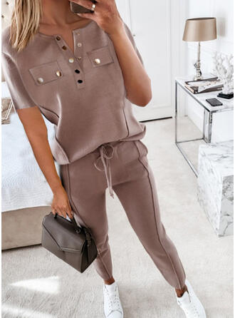 Solid Drawstring Casual Sporty Suits