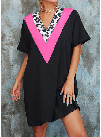 Leopard 1/2 Sleeves Shift Above Knee Casual Tunic Dresses