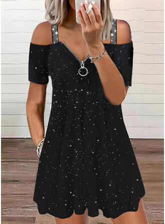 Print/Sequins Short Sleeves Shift Above Knee Little Black/Casual Tunic Dresses