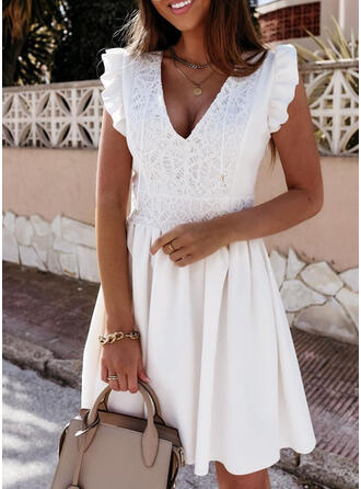 Lace/Solid Sleeveless A-line Above Knee Little Black/Casual Skater Dresses