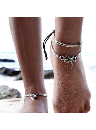 Layered Starfish Design Alloy Braided Rope Women's Beach Jewelry Anklets