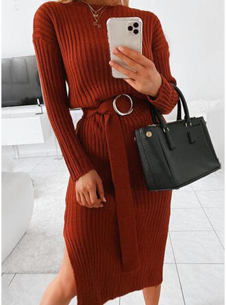 Solid Ribbed Round Neck Casual Sweater Dress