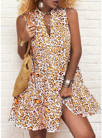 Print/Leopard Sleeveless A-line Above Knee Casual Skater Dresses