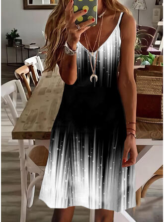 Gradient Sleeveless A-line Above Knee Casual/Vacation Slip/Skater Dresses