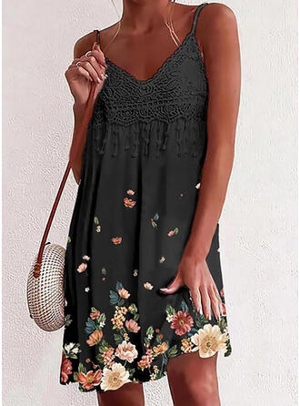 Lace/Print/Floral Sleeveless Shift Knee Length Casual/Vacation Slip Dresses
