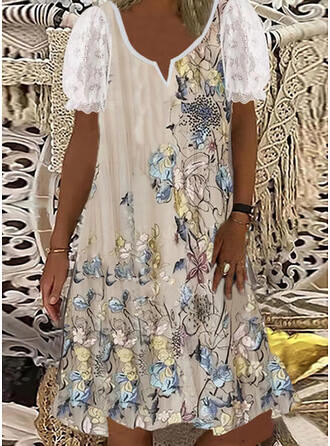 Lace/Print/Floral Short Sleeves Shift Knee Length Casual Tunic Dresses
