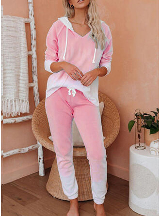 Gradient Drawstring Casual Sporty Stretchy Suits