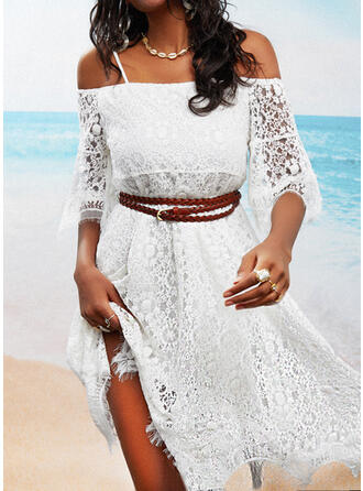 Lace/Solid/Backless 3/4 Sleeves/Flare Sleeves A-line Above Knee Casual Skater Dresses