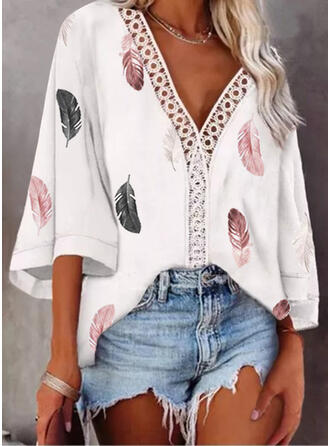 Print Lace Hollow-out V-Neck 3/4 Sleeves Casual Blouses
