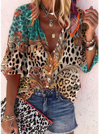 Print Leopard V-Neck 3/4 Sleeves Button Up Casual Shirt Blouses